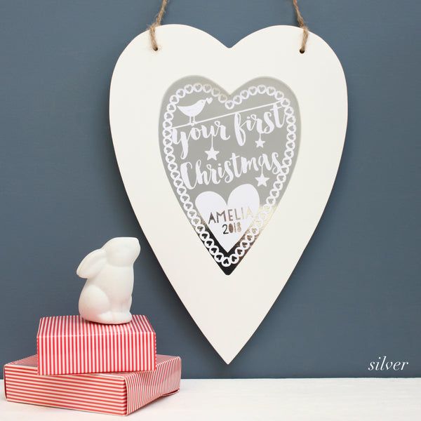 silver first christmas metallic heart, white frame