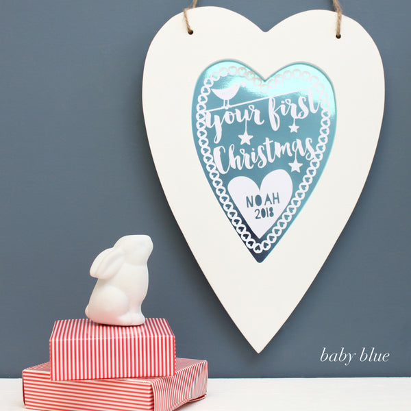 baby blue first christmas metallic heart, white frame
