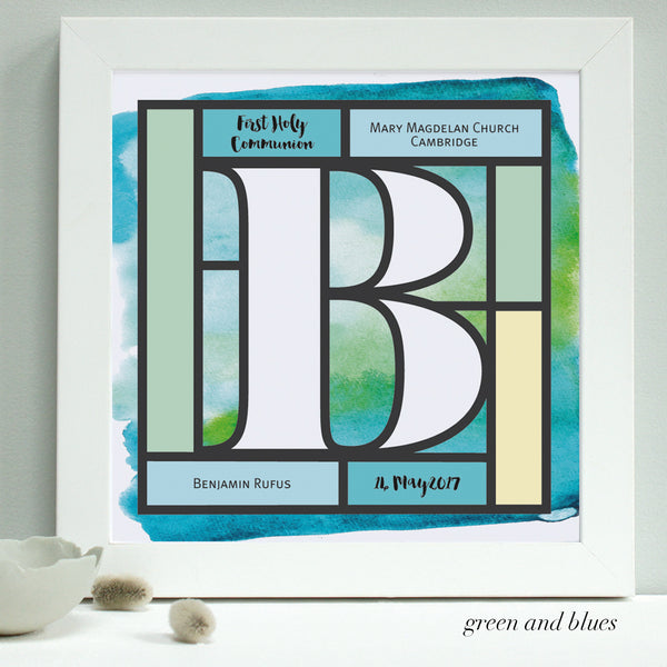 greens and blues Holy Communion print, white frame