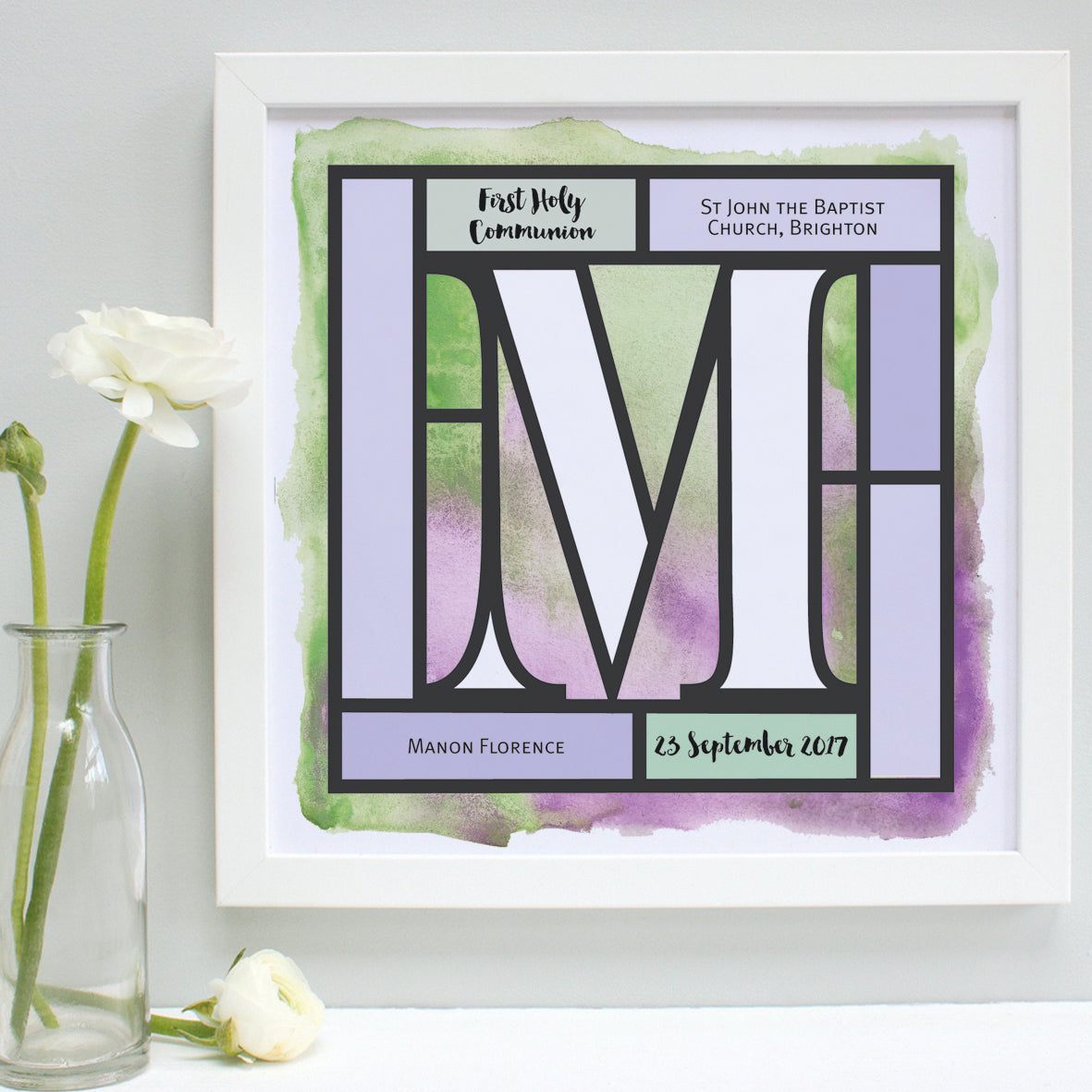 lilac and lime Holy Communion print, white frame