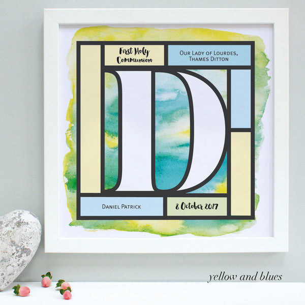 yellow and blues Holy Communion print, white frame