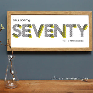 custom seventy birthday age print, oak frame