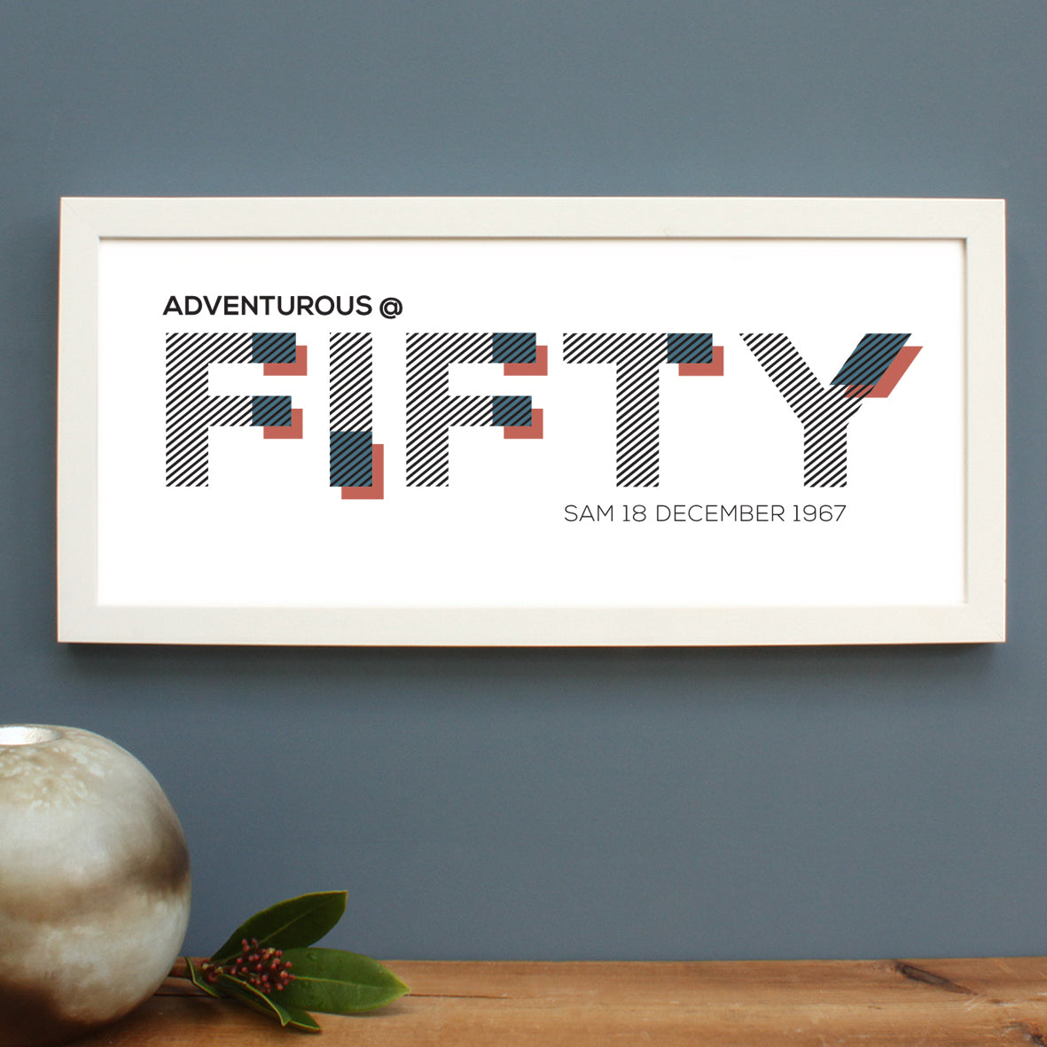 personalised fifty age print, white frame
