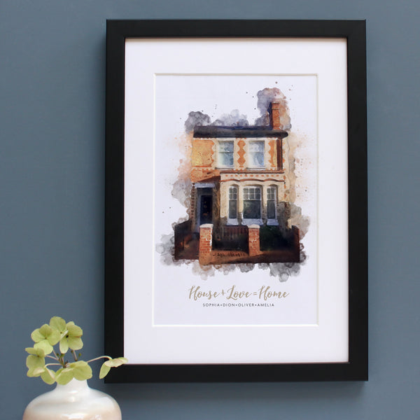 watercolour illustration of a victorian home