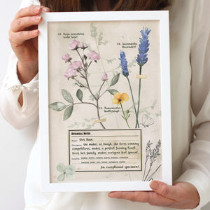 Personalised Botanical Notes For Nanny Framed Print