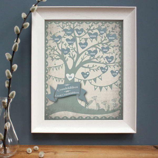 personalised stone blue family tree print