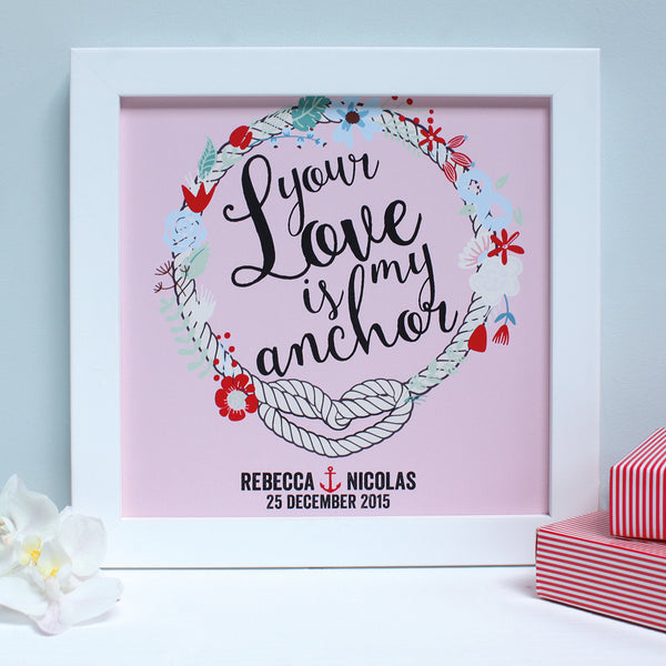 personalised raspberry engagement print, white frame