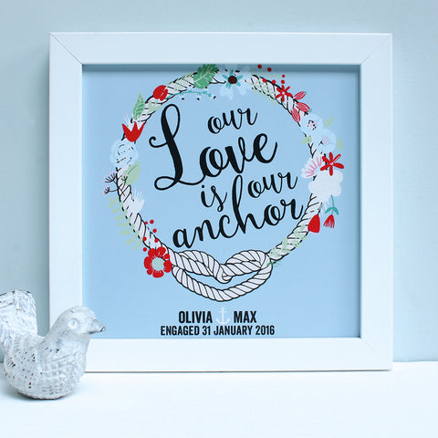 personalised powder blue engagement print, white frame