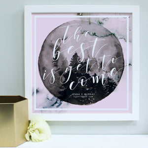personalised blush anniversary print, white frame