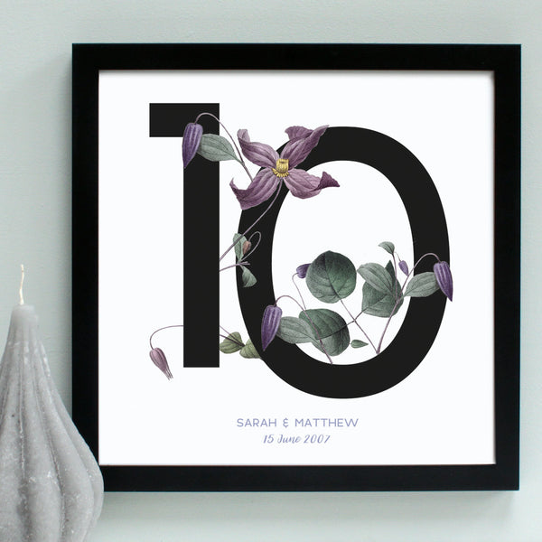 lilac flowers, 10th anniversary print, black frame