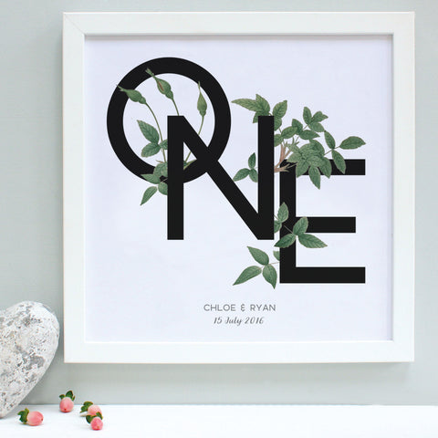 green foliage first anniversary print, white frame