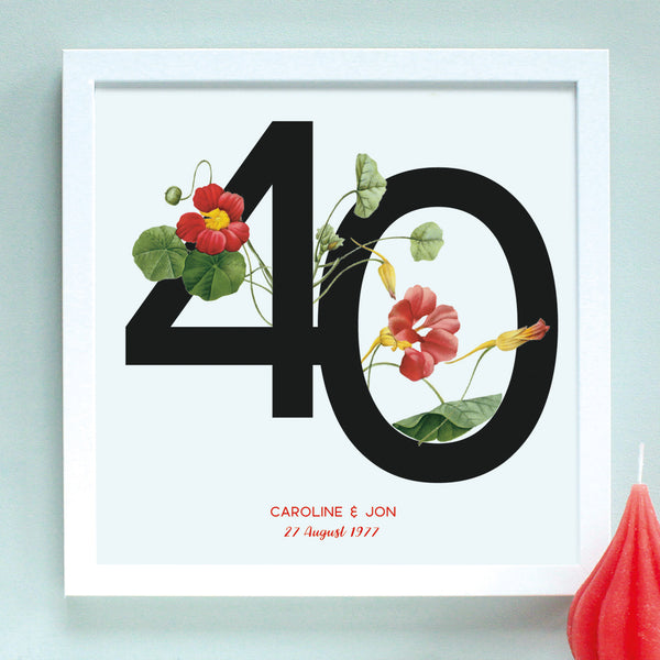 red flowers 40th anniversary print, white frame