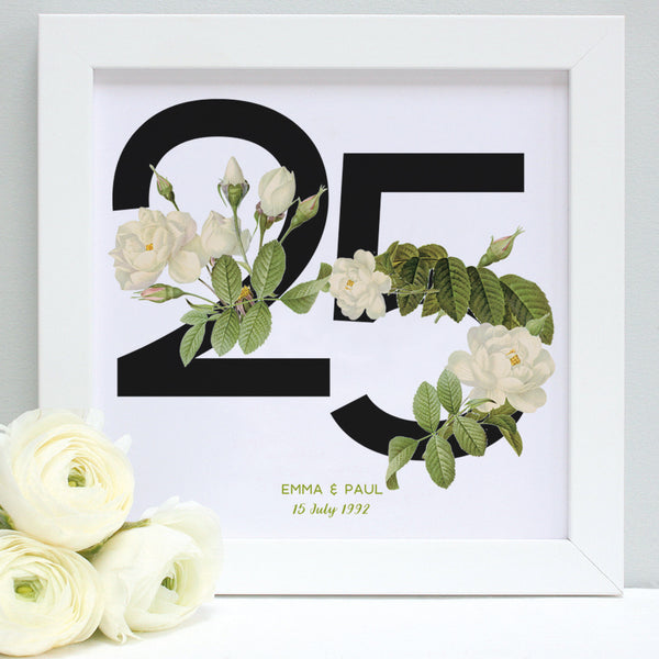 white rose 25th anniversary print, white frame