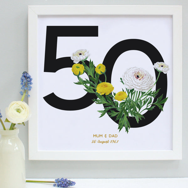 white and yellow flowers 50th anniversary print, white frame