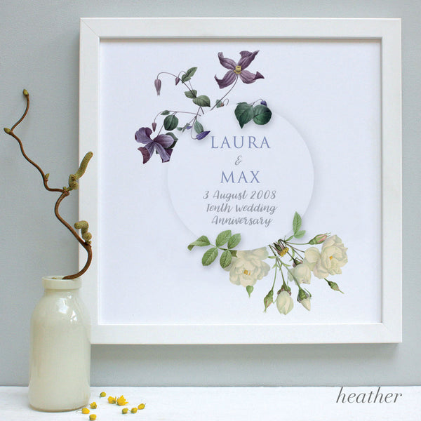 personalised heather flowers anniversary print, white frame