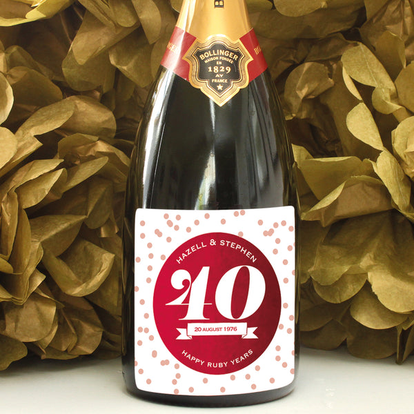 personalised merlot 40th anniversary champagne label