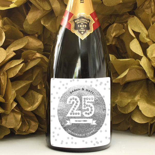 personalised silver 25th anniversary champagne label