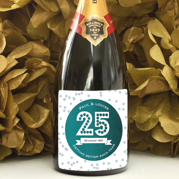personalised emerald 25th anniversary champagne label