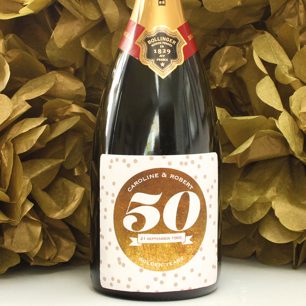 personalised gold 50th anniversary champagne label