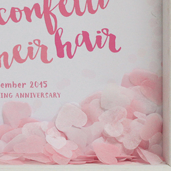 personalised pale pinks anniversary print with pale pink confetti, white frame
