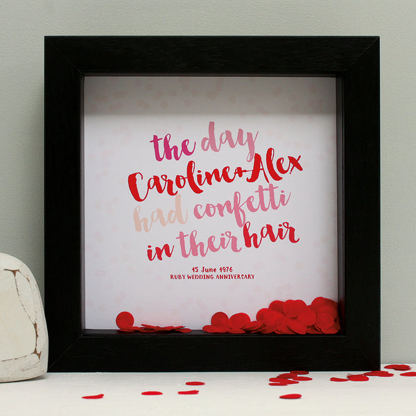 personalised reds anniversary print with ruby red confetti, black frame