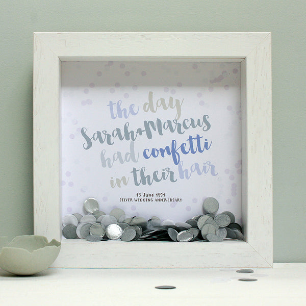 personalised silver grey anniversary print with silver confetti, white frame