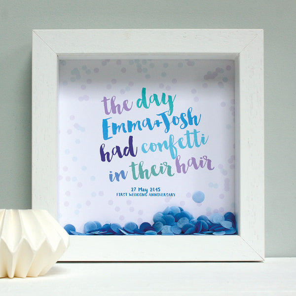 personalised blues anniversary print with powder blue confetti, white frame