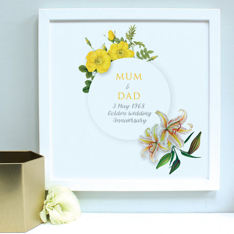 personalised golden flowers anniversary print, white frame