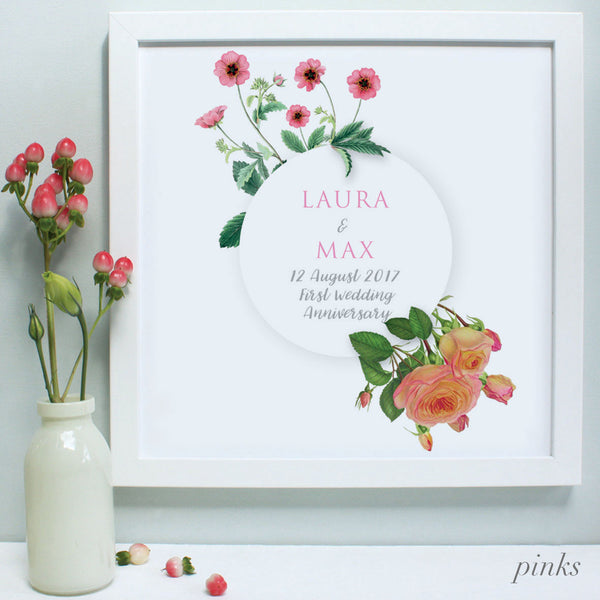 personalised pinks flowers anniversary print, white frame
