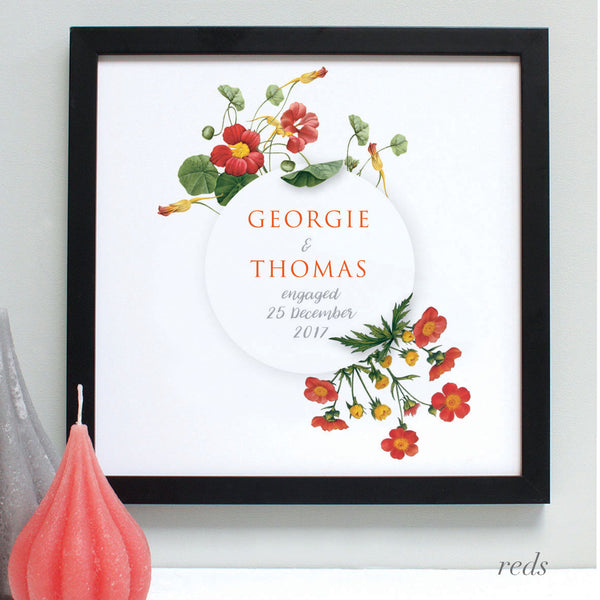 personalised reds flowers anniversary print, black frame