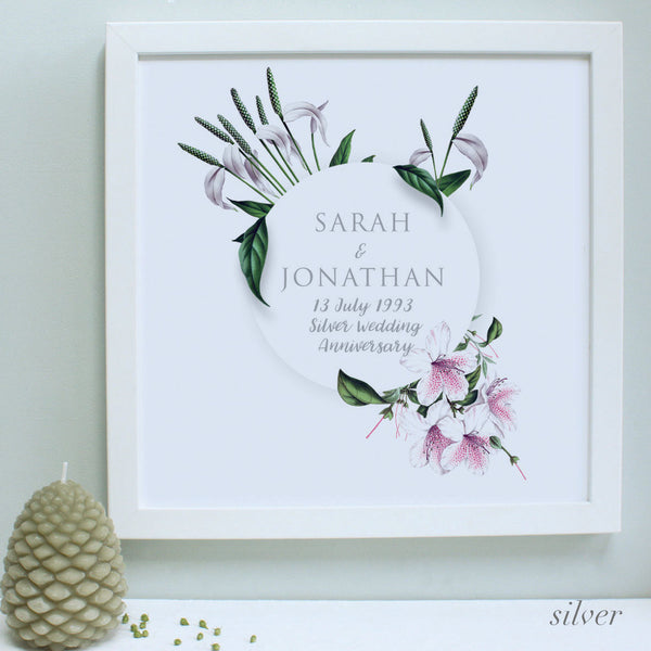 personalised silver flowers anniversary print, white frame