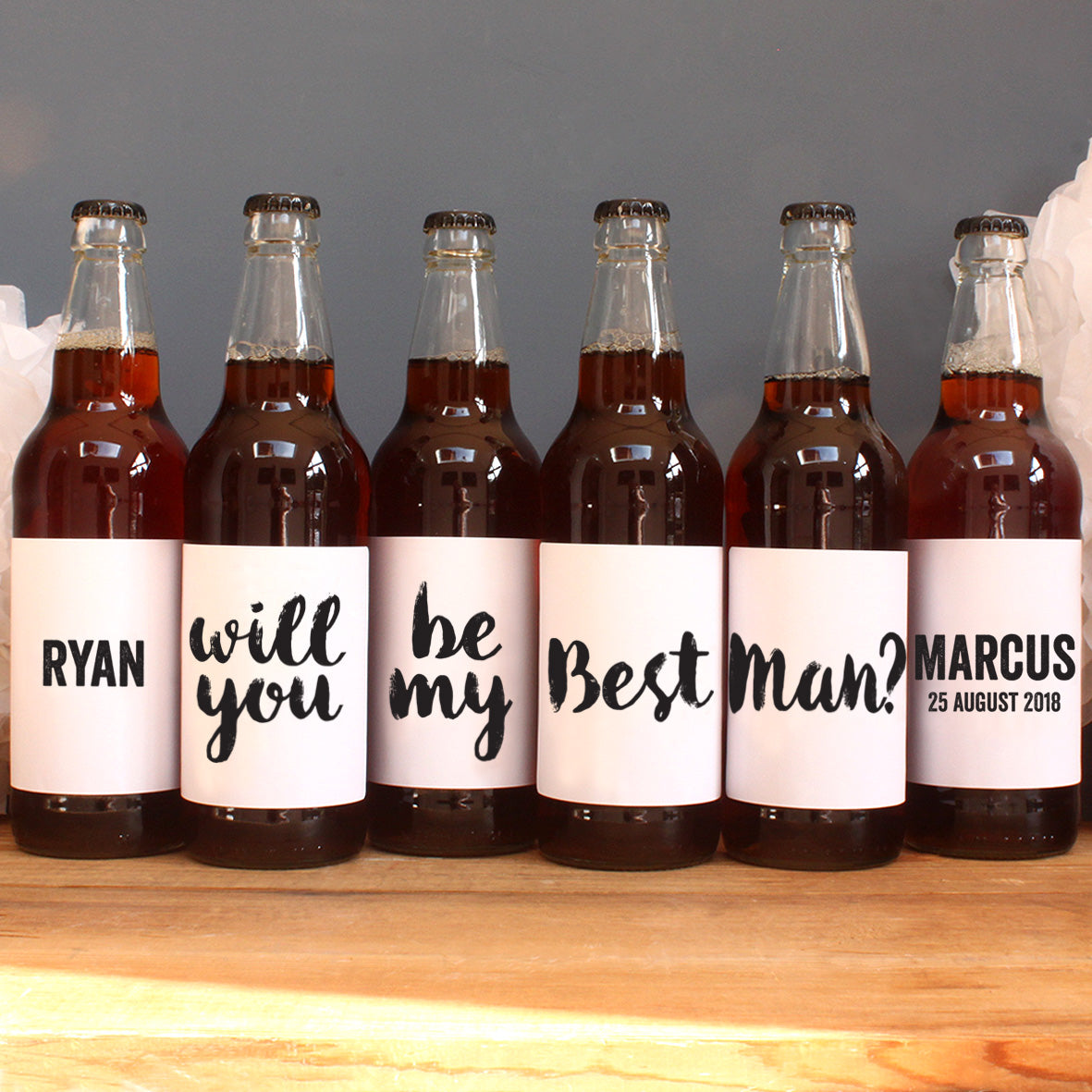 personalised black lettering on beer label, best man