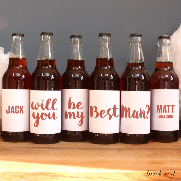 personalised brick red lettering on beer label, best man
