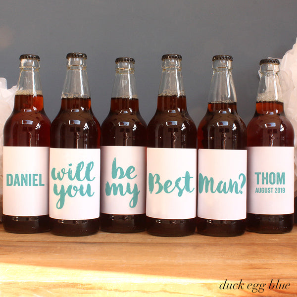 personalised duck egg lettering on beer label, best man