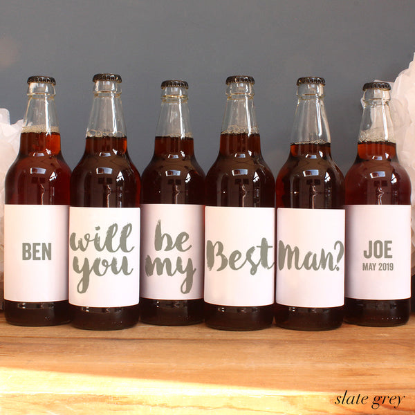 personalised slate grey lettering on beer label, best man