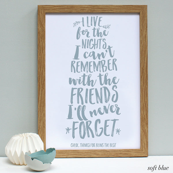 personalised soft blue friend quote print, oak frame