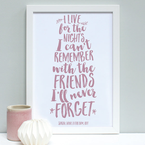 personalised dusty pink friend quote print, white frame