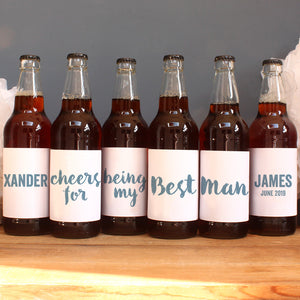 personalised stone blue lettering on beer label, best man
