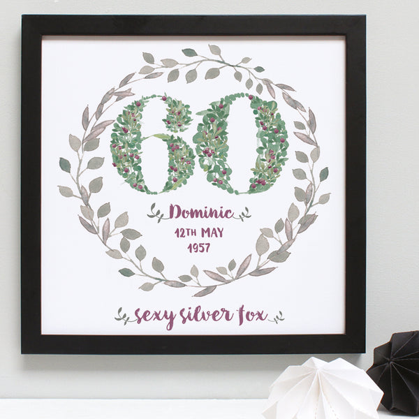 green foliage and berries 60th floral birthday print, black frame