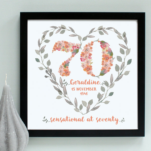 personalised peach 70th birthday heart, black frame