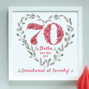 deep pink personalised 70 birthday age print, white frame