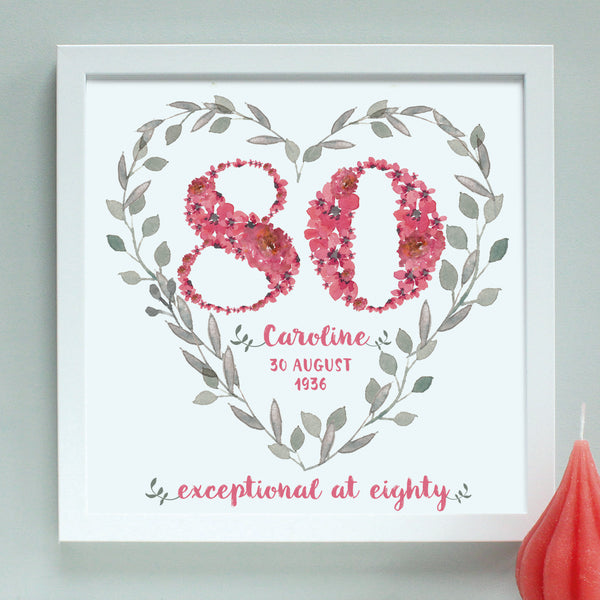 deep pink personalised 80th birthday heart, white frame