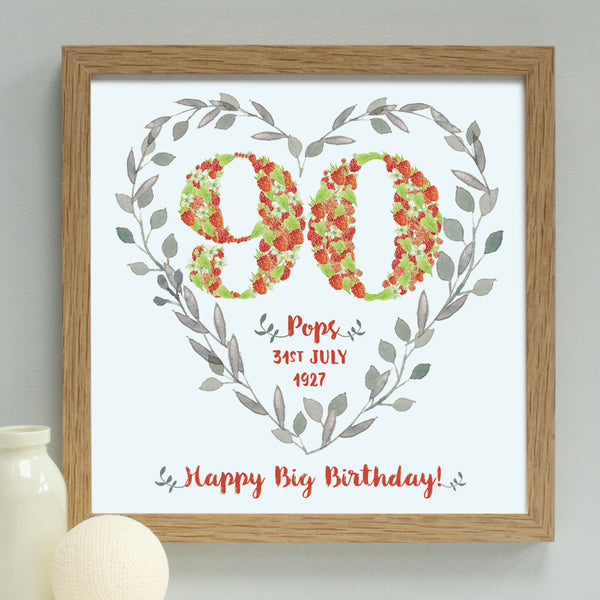 strawberries 90th birthday floral heart print, oak frame