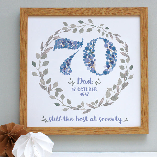 watery blue bespoke 70th birthday floral print, oak frame