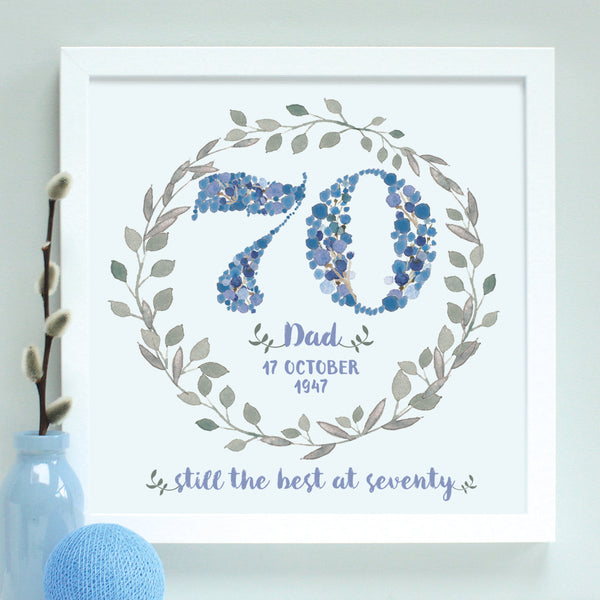 personalised blue 70th birthday age print, white frame
