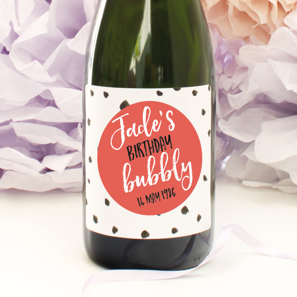 personalised coral dots birthday champagne label