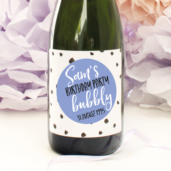 personalised cornflower dots birthday champagne label