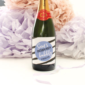 personalised cornflower stripes birthday champagne label