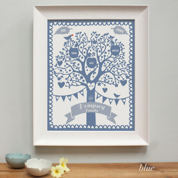 blue illustration of a family tree in a white frame