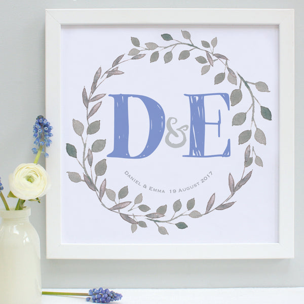 personalised cornflower wedding garland print, white frame